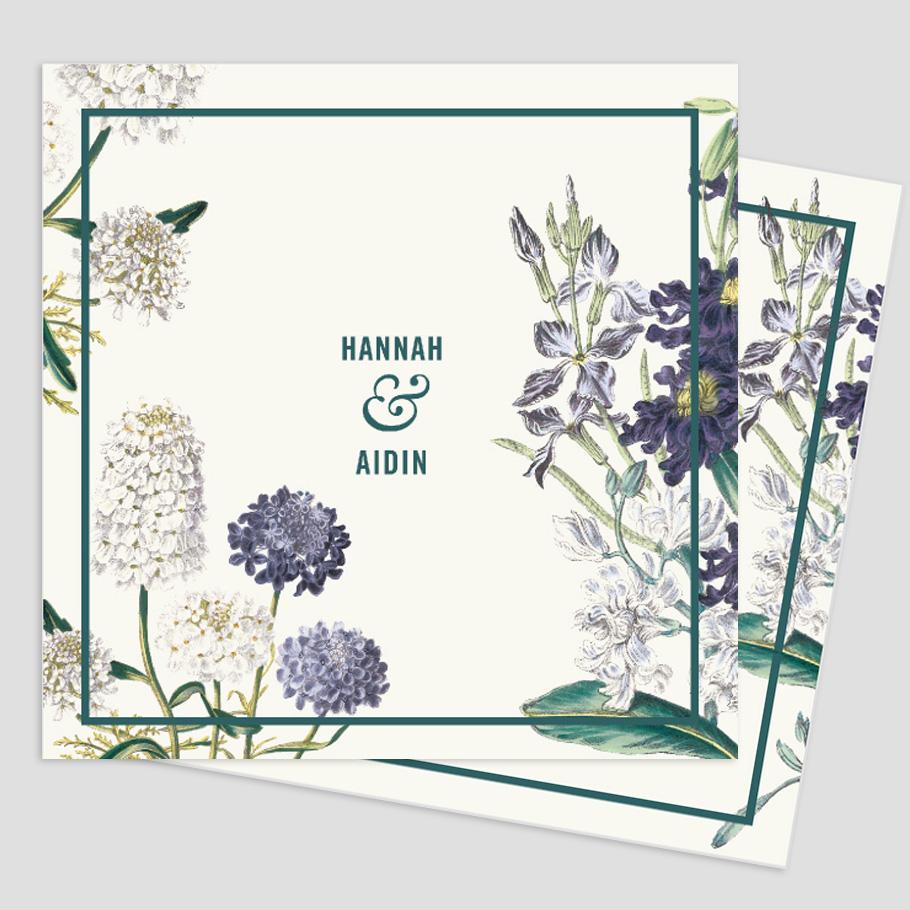 Faire-part de mariage à fleurs, vert et bleu. Inspiration jardin anglais, botanic chic.