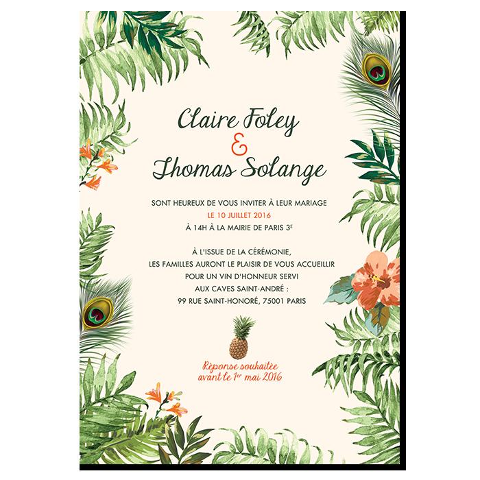 Invitation Mariage originale Ambiance Jungle Tropicale