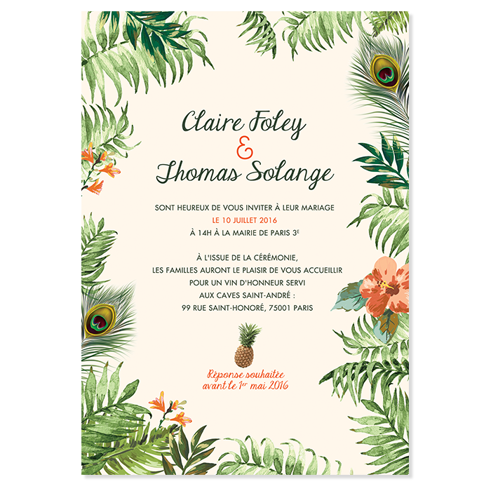 invitation mariage originale ambiance jungle tropicale. Black Bedroom Furniture Sets. Home Design Ideas