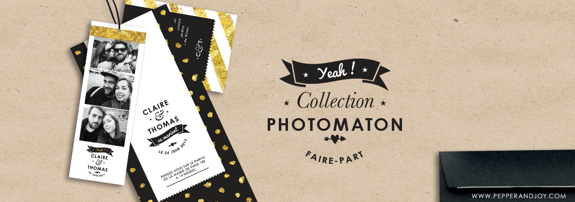 faire part photomaton invitation de mariage original. Black Bedroom Furniture Sets. Home Design Ideas