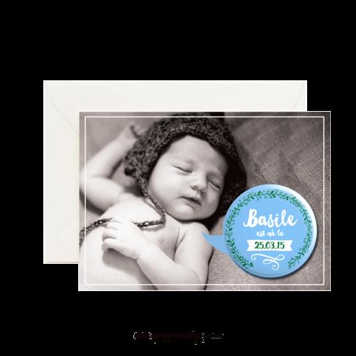 Faire-part personnalisé avec la photo du bébé