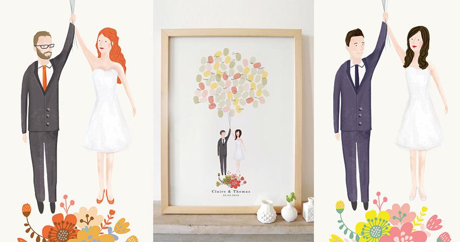 Illustration sur mesure des mariés. Livre'or à empreinte. Idée originale pour mariage moderne et ludique.