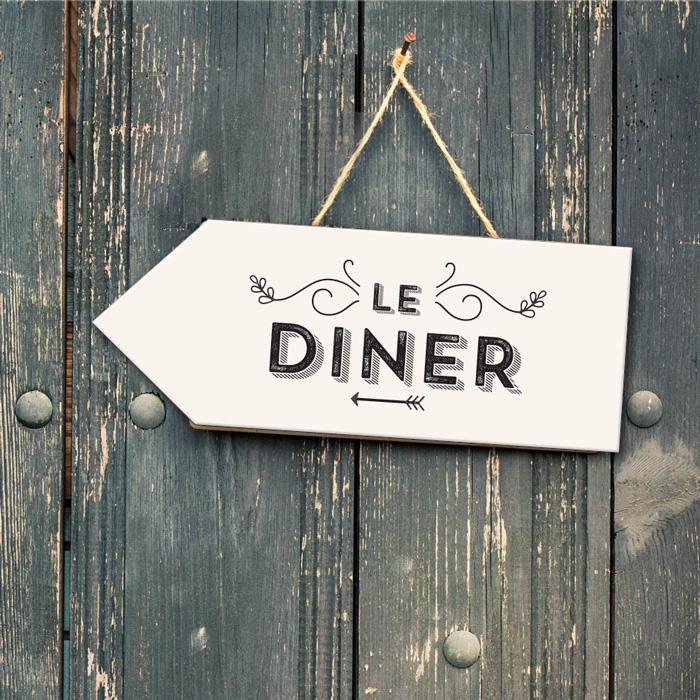 Panneaux de direction 'Le dîner'. Mariage DIY