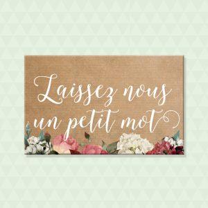 Panneau 'Laissez un petit mot aux mariés'