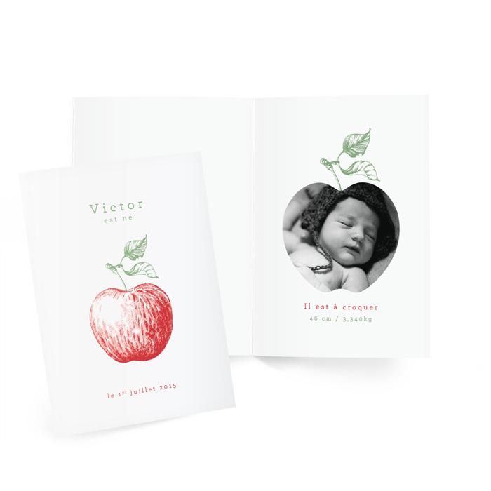 Faire part de naissance photo et illustration de pomme. Garçon et fille