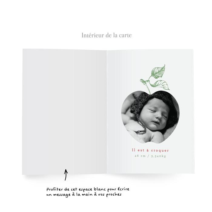 Faire-part de naissance photo bébé dans forme de pomme. Texte il est à croquer