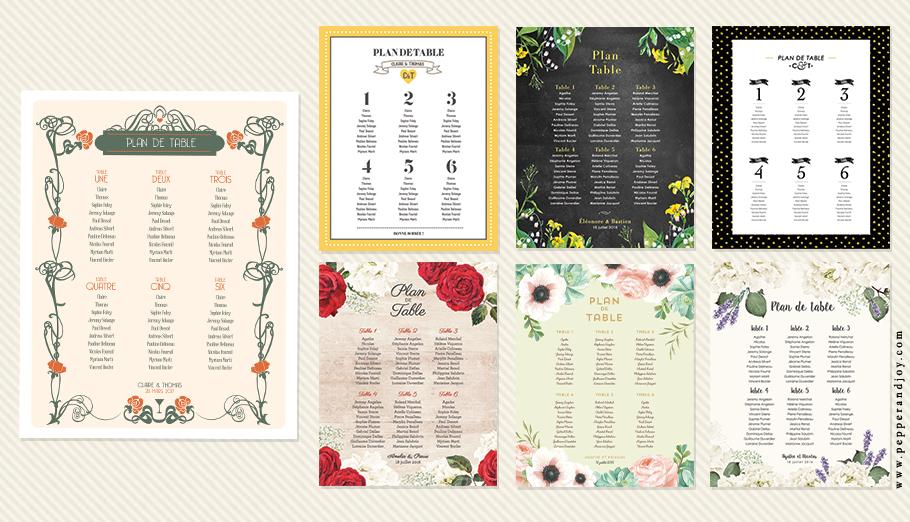 Plan de table de Mariage. Poster personnalisé et imprimé. Catalogue Mariage Pepper et Joy