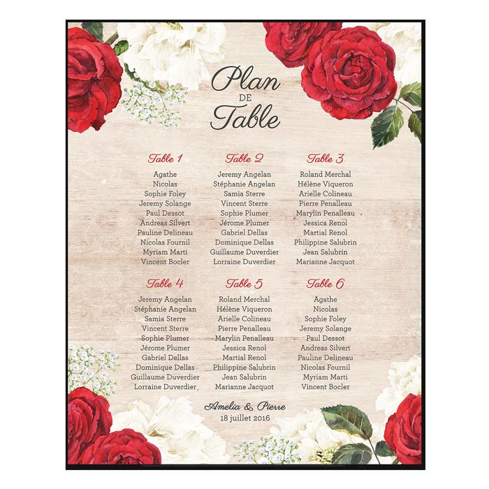 Plan de table de mariage personnalisé et imprimé. Roses rouges et fleurs blanches à l'aquarelle.