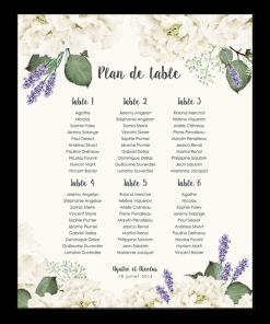 Plan de table de mariage personnalisé et imprimé. Fleurs blanches et lavande de Provence.