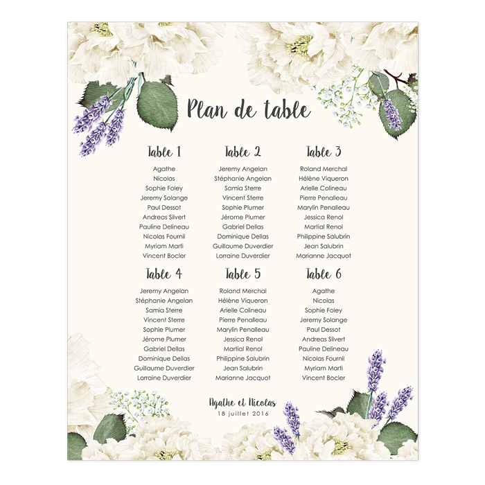 plan de table de mariage poster. Black Bedroom Furniture Sets. Home Design Ideas