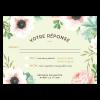 Carton réponse de mariage. Fleurs pink et mint. Fond vert d'eau et fleurs corail. Sous forme de carte postale.