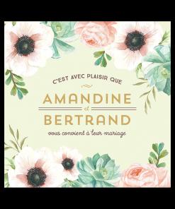Invitation de mariage personnélisée avec décor de fleurs rose et vert