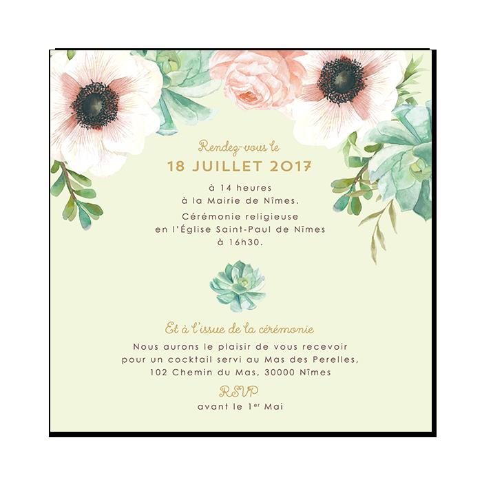 Invitation de mariage à fleurs vertes et rose pale. Moderne et bucolique.