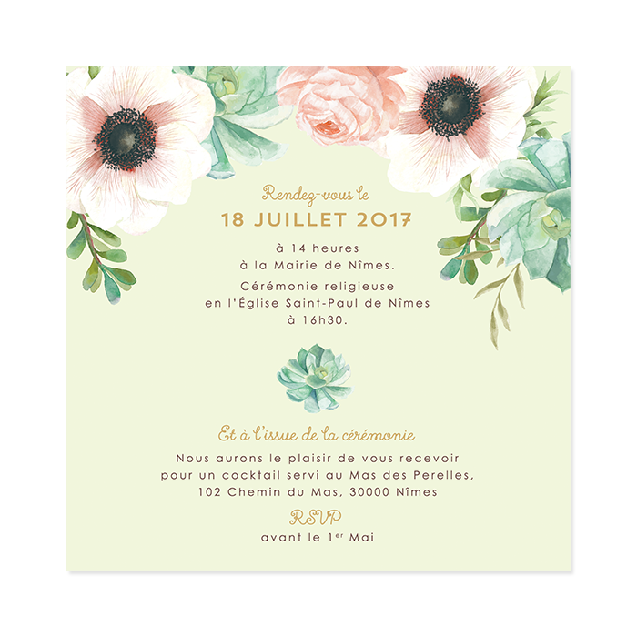 invitation de mariage personnalis e le bouquet de la mari e. Black Bedroom Furniture Sets. Home Design Ideas