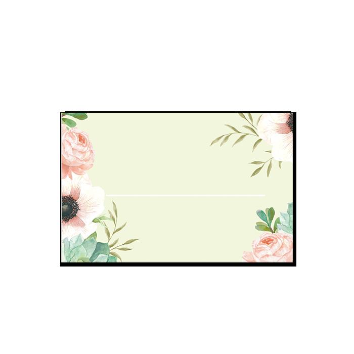 Marque place mariage personnalisé. Avec fleurs à l'aquarelle et logo des mariés.
