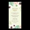 Menu de mariage personnalisé avec fleurs à l'aquarelle
