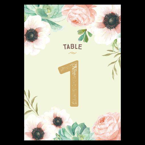 Numéros de table personnalisé avec fleurs à l'aquarelle.