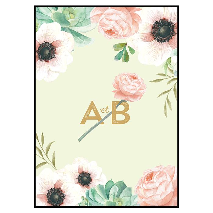 Carton d'invitation au diner de mariage ou brunch du lendemain. Logo de mariage composée des vos initiales et d'une fleur.