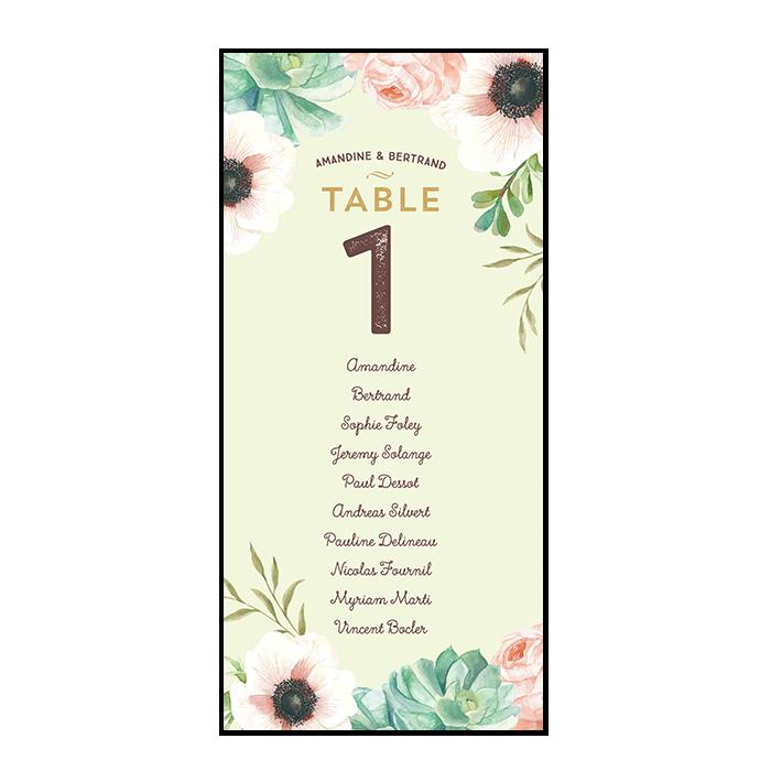 Plan de table de mariage personnalisé sous forme de cartes avec fleurs à l'aquarelle