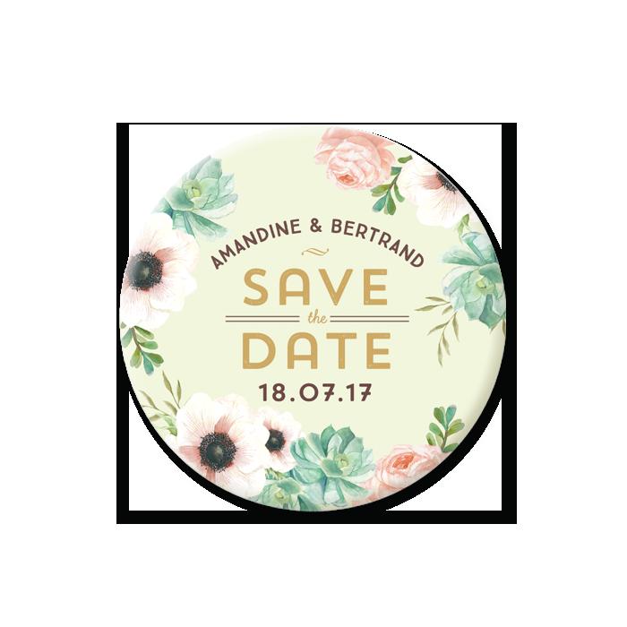Magnet save the date de mariage sous forme de magnet. Fleurs vert et corail.