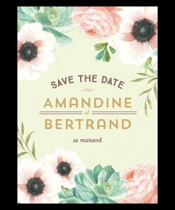 Save the date mariage personnalisé. Bucolique chic. Décor floral pink, corail et mint