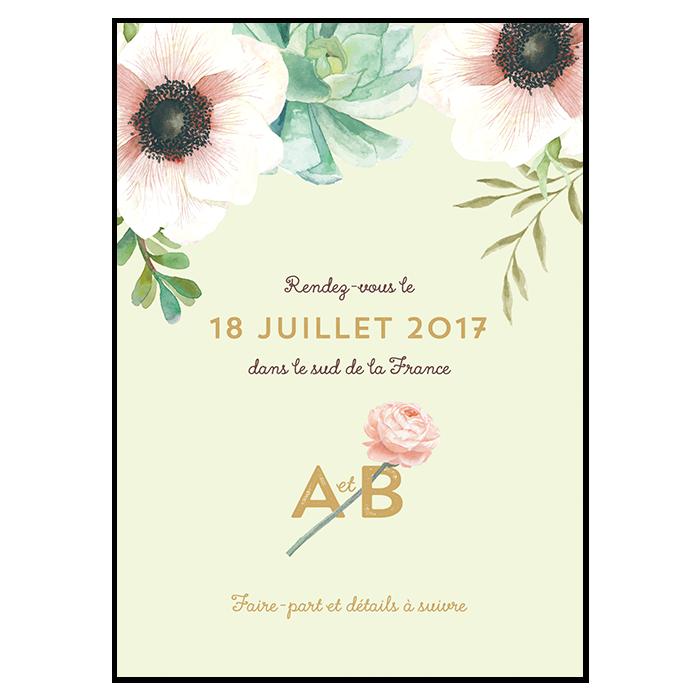 Save the Dtae mariage floral. Fleurs bucolique chic. Illustration et couleurs personnalisées.