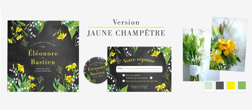 Faire-part de mariage à fleurs version jaune champetre