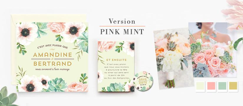 Faire-part de mariage à fleurs version Pink Mint