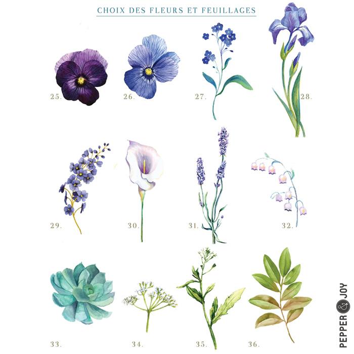 Création faire-part sur mesure, choix des fleurs à l'aquarelle, fleurs bleues, violet et violettes