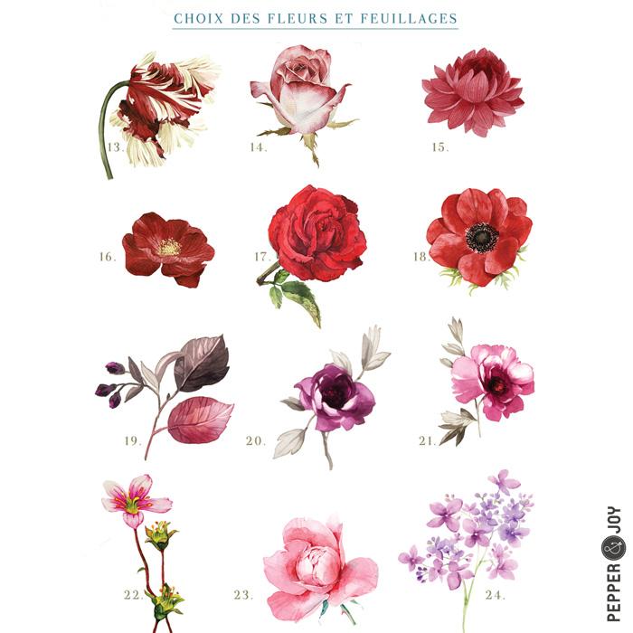 Création faire-part sur mesure, choix des fleurs à l'aquarelle, fleurs rouges et roses