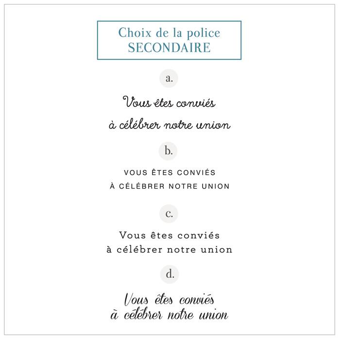 Creation invitation de mariage sur mesure. Choix de la police d'écriture. Pepper & Joy