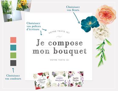Faire part de mariage sur mesure avec fleurs à l'aquarelle - le bouquet de la mariée