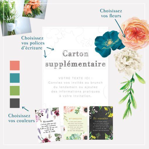 Carton supplémentaire mariage floral, le bouquet de la mariée