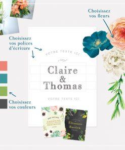 Save the date mariage floral et créatif. Composition de fleurs sur mesure.