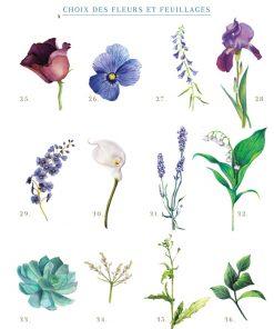 faire part mariage personnalisé floral fleurs aquarelle bleue violet sur mesure
