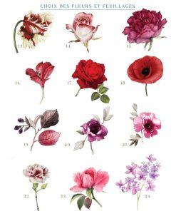 faire part mariage personnalisé invitation mariage floral fleurs aquarelle