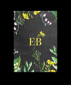 Création du logo des mariés avec fleur jaune à l'aquarelle