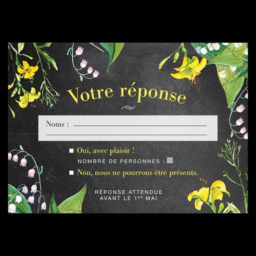 Carton réponse de mariage personnalisé. Fleurs jaune et blanc. Fond ardoise. Style simple et délicat.