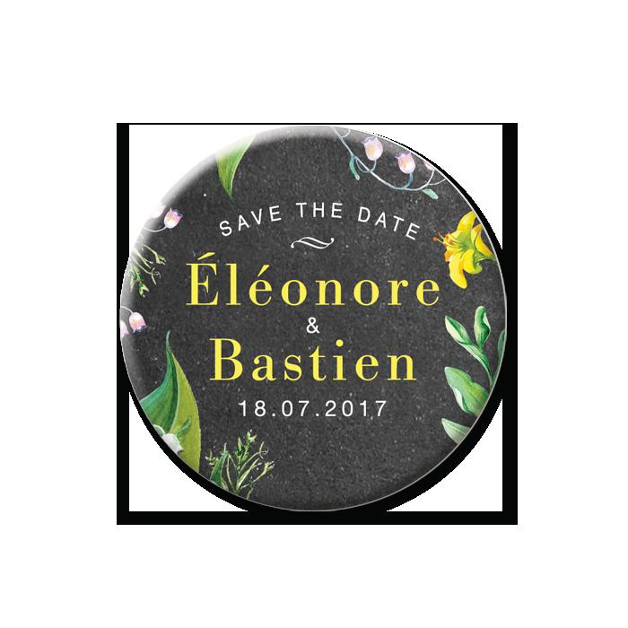Création save the date magnet de mariage personnalisé. Mariage champêtre chic avec fleurs jaune et blanc.