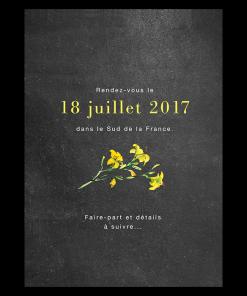 Save the date personnalisé de mariage. Fleurs jaunes champêtre chic pour mariage simple et délicat