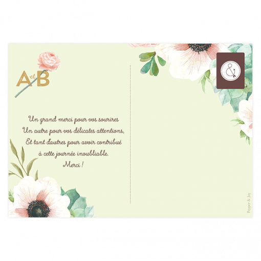 Carte postale de remerciement personnalisée. Mariage avec fleurs à l'aquarelle.