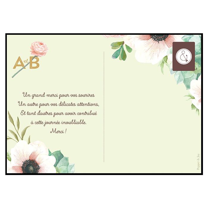cartes de remerciements de mariage avec photo pink mint. Black Bedroom Furniture Sets. Home Design Ideas