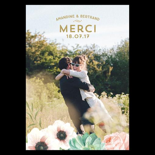 Carte de remerciements de mariage personnalisées avec fleurs à l'aquarelle.