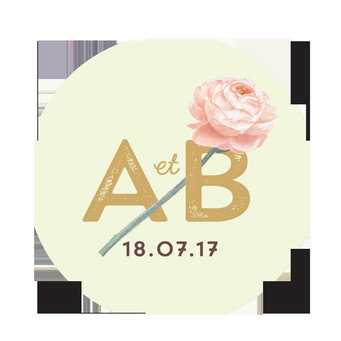 Sticker de mariage avec logo personnalisé des mariés.