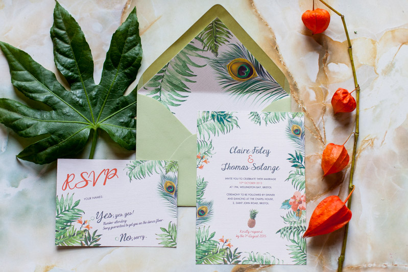 "Faire-part de mariage exotique ""Jungle Tropicale"" par Pepper & Joy"