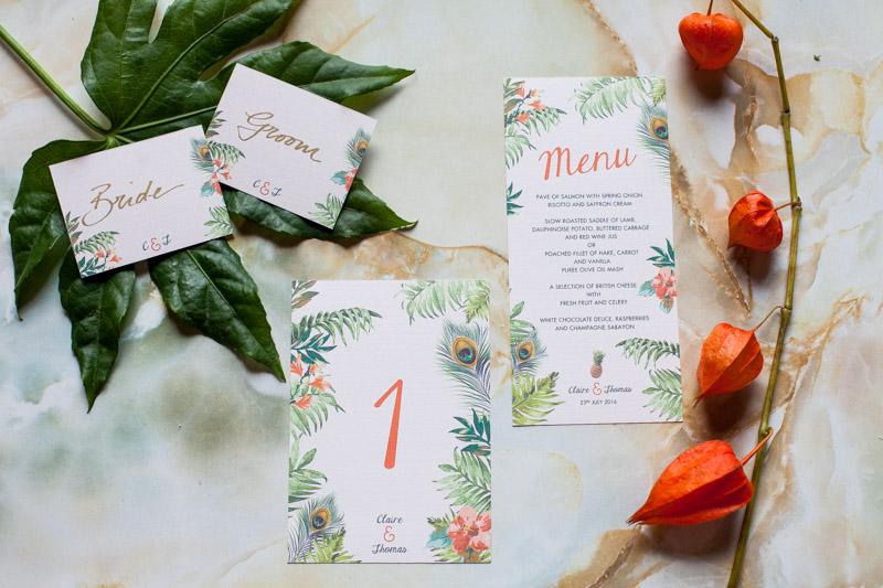 Faire-part de mariage exotique, menu et numéro de table personnalisés