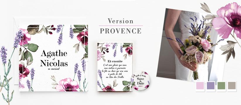 Faire-part de mariage en provence, lavande et rose