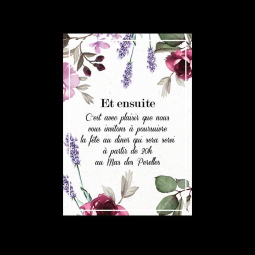 Carton d'Invitation de mariage à fleurs