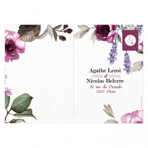 Carton réponse de mariage, fleurs de Provence, carte postale