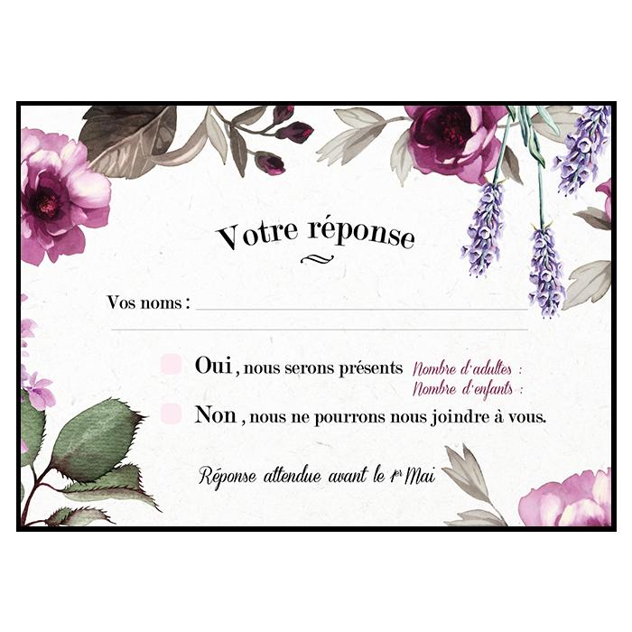 Carton réponse de mariage, fleurs de Provence